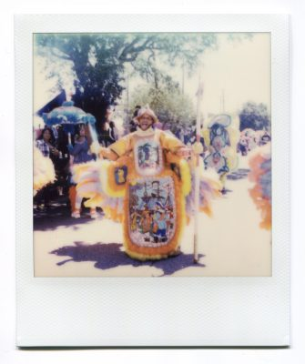 Spy Boy Dow of the Mohawk Hunters at Westbank Super Sunday 2019. Polaroid by Florent Dudognon
