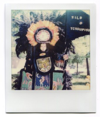 Flag Boy Giz of the Wild Tchoupitoulas. Polaroid by Florent Dudognon
