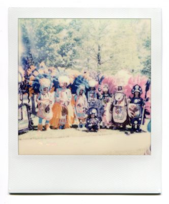 Black Masking Indians at Westbank Super Sunday 2019. Polaroid by Florent Dudognon