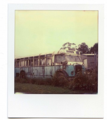 Bus wreck, Australia. Polaroid by Florent Dudognon