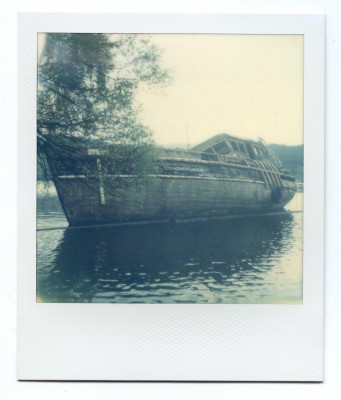 Boat wreck, Scotland, Polaroid by Florent Dudognon