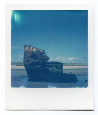 Boat wreck, Ireland, Polaroid by Florent Dudognon