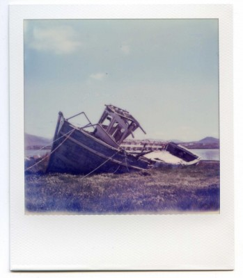 Boat wreck, Ireland. Polaroid by Florent Dudognon